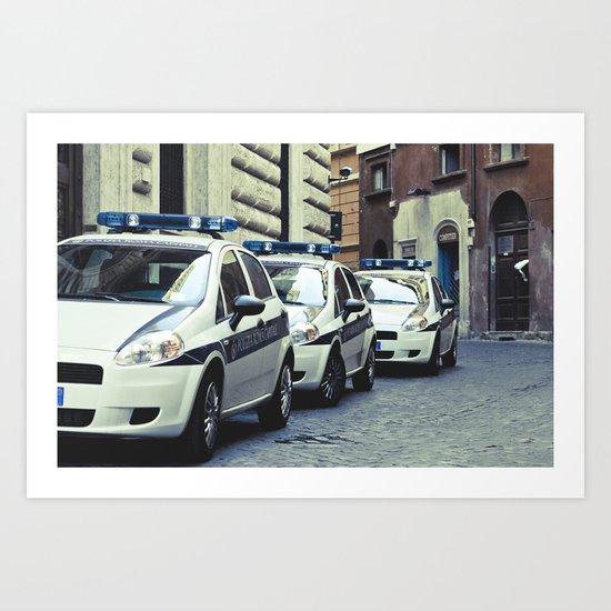 Police cars in Rome Art Print
