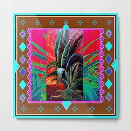 COLORFUL DESERT AGAVE CACTUS PAINTING Metal Print