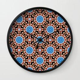 Lightning Mandala - White, blue, orange- Mandala Fractal Wall Clock