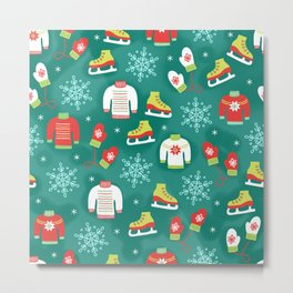 Christmas Sweaters, Ice Skates and Mittens Pattern Metal Print