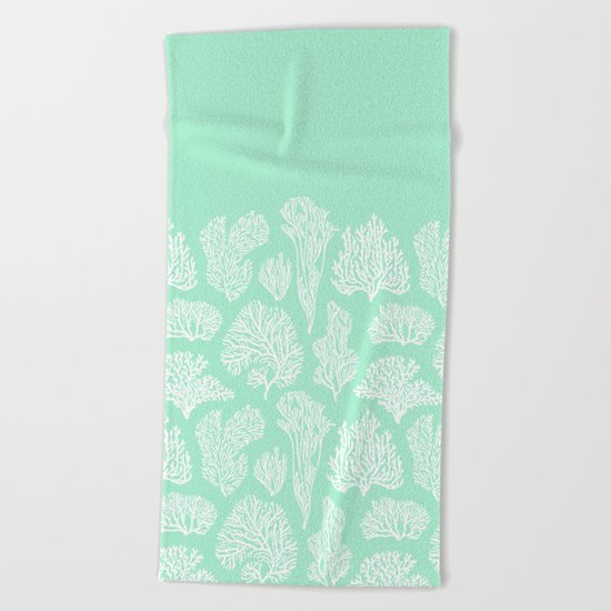 White corals on mint Beach Towel