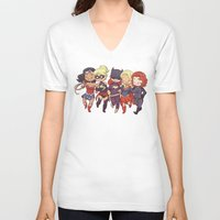 superheros V-neck T-shirts featuring Super BFFs by Dooomcat
