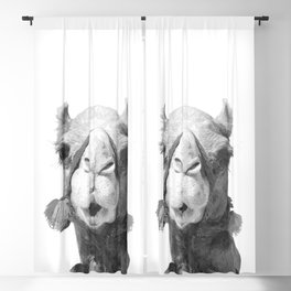 Black and White Camel Portrait Blackout Curtain