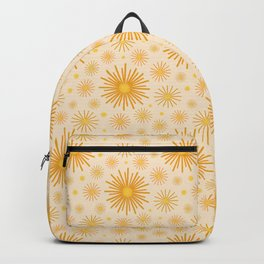 Abstract Hand-painted Golden Fireworks, Vintage Festive Pattern with Beautiful Acrylic Texture, Gold and Light Beige Color Backpack