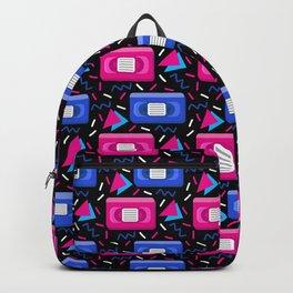 VHS Tapes • Black Background Backpack