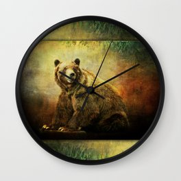 Grizzly Bear in Morning Sun Wall Clock