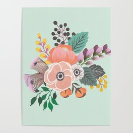 Soft Florals on Mint Poster