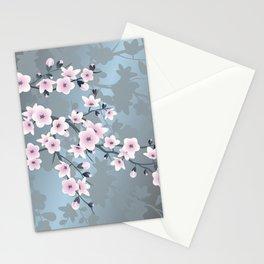 Dusky Pink Grayish Blue Cherry Blossom Stationery Cards