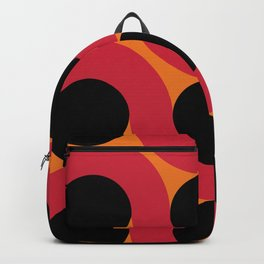 Black Balls on red Elastic Worms in an Orange Background Backpack