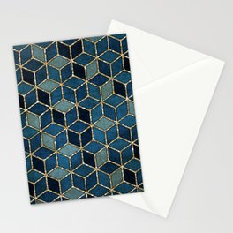 Shades Of Turquoise Green & Blue Cubes Pattern Stationery Cards