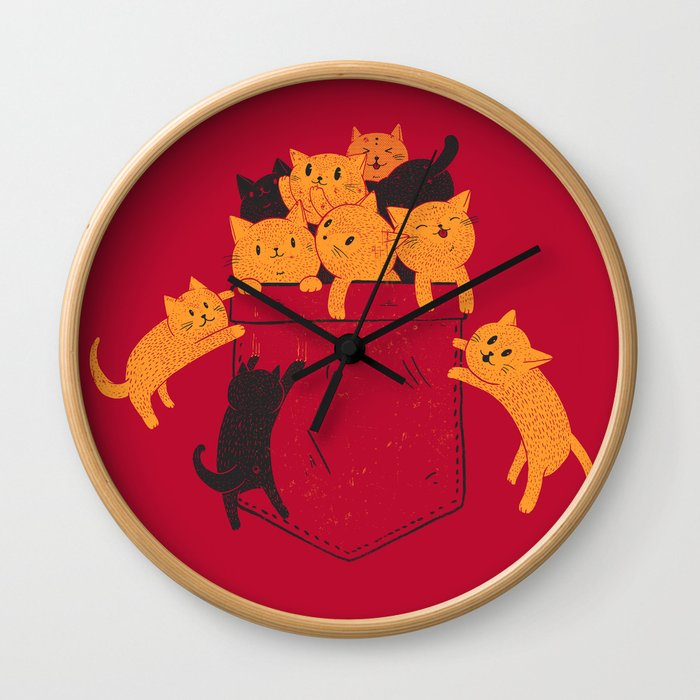 Pocket Cats Wall Clock