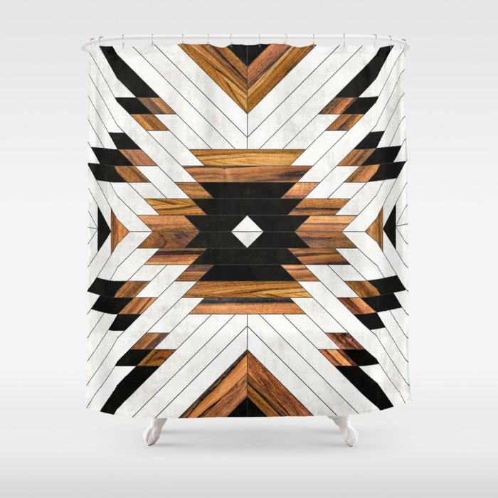 Urban Tribal Pattern No.5 - Aztec - Concrete and Wood Shower Curtain