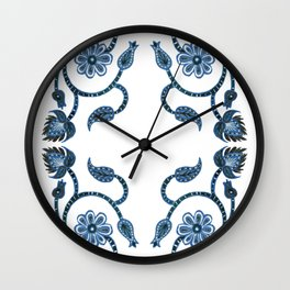 Blue Paisley Double Heart 1 Wall Clock
