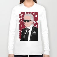 karl Long Sleeve T-shirts featuring Karl Lagerfeld by Stephanie Jett