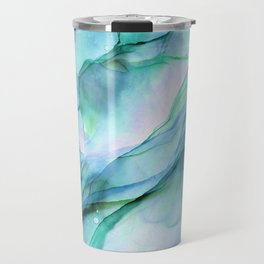Aqua Turquoise Teal Abstract Ink Painting Travel Mug