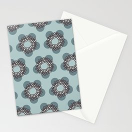 Flower Power surface pattern (blue) Stationery Cards