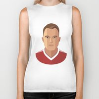 phil jones Biker Tanks featuring Phil Jones MUFC Flat Illustration by uniteeds