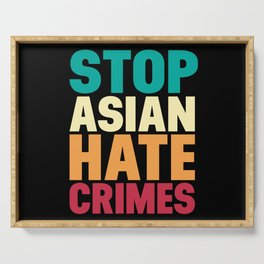 Stop Asian Hate Crimes Proud Asian American Retro Serving Tray