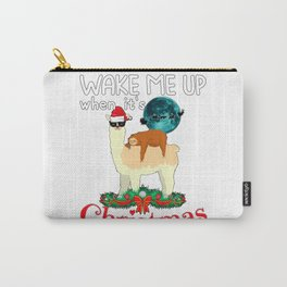 Cool Llama With A Sleeping Sloth Christmas Xmas Gift Carry-All Pouch