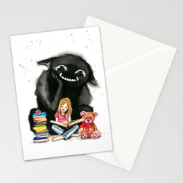 My monster keeps me company Stationery Cards