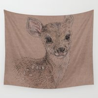 fawn Wall Tapestries featuring Fawn by Fruzsina Kuhari