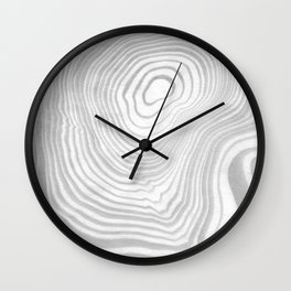 Sanyu - spilled ink abstract marble minimal topography black and white grey art Wall Clock