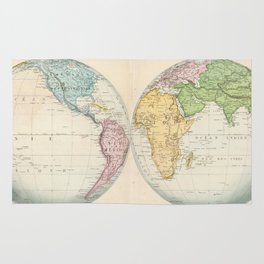 Vintage Map of The World (1862) 2 Rug