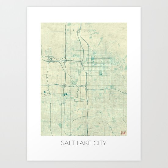 Salt Lake City Map Blue Vintage Art Print