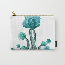 Blue Rose with Octopus Tentacles Art Print Carry-All Pouch