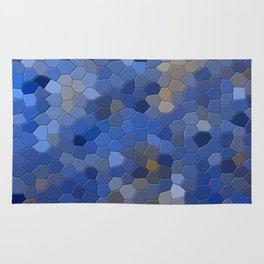 Blue mosaic tile abstract Rug