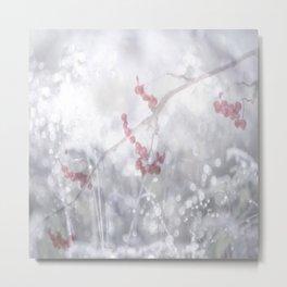 Winter Scene Rowan Berries With Snow And Bokeh #decor #buyart #society6 Metal Print