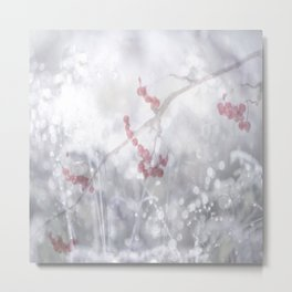Winter Scene Rowan Berries With Snow And Bokeh #decor #buyart #society6 Metal Print