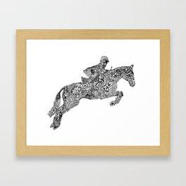 Zentangle Horse and rider show jumping Framed Art Print