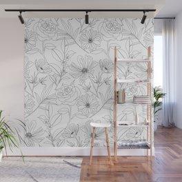stylish garden flowers black outlines design Wall Mural