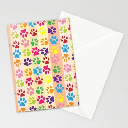 Dog Paws, Paw-prints, Stripes - Red Blue Green Stationery Cards