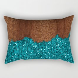 Aqua blue sparkles glitter rustic brown wood Rectangular Pillow