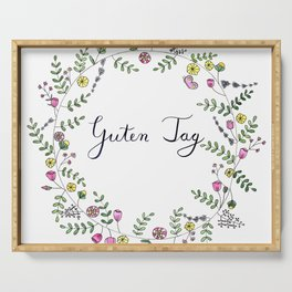 Guten Tag German Brush Script with whimsical wreath Serving Tray