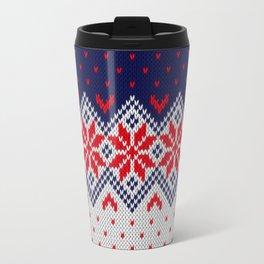 Winter knitted pattern 11 Travel Mug