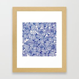 Hand painted royal blue white watercolor floral illustration Framed Art Print