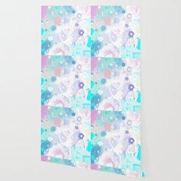 Peinture digitale tons pastels fleurs nuages bulles rose vert bleu jaune blanc Wallpaper