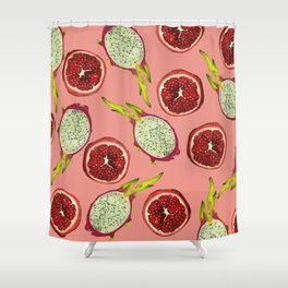 pomegranate - Dragon Fruit Pattern coral Shower Curtain