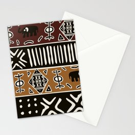 African mud cloth with elephants Stationery Cards