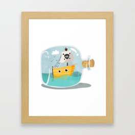 Pirate ship in a bottle - I Framed Art Print