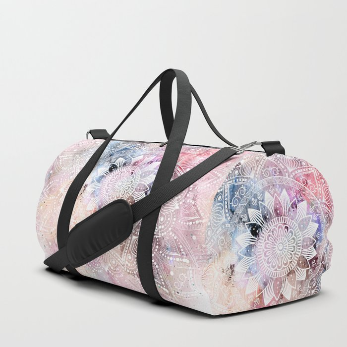 Whimsical white watercolor mandala design Duffle Bag