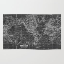 Black and White World Map (1901) Inverse 2 Rug