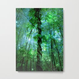 Forest Of The Fairies Green Blue Metal Print