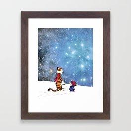 Calvin Hobbes snow christmas Framed Art Print