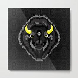 Geometric Bison Metal Print