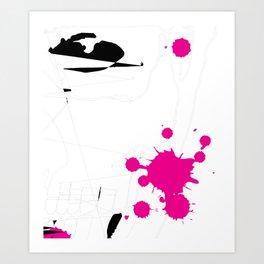 Magenta Abstract Rick Genest Art Print