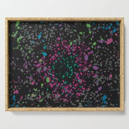 Vibrant Neons on Black Paint Splatter Design Serving Tray